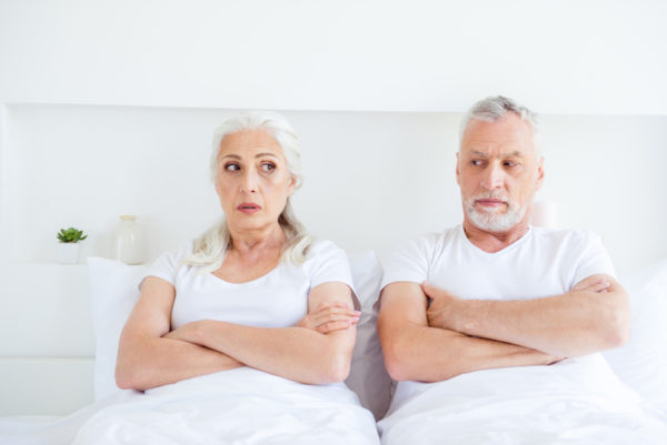 elderly couple not talking about erectile dysfunction (ED) problems