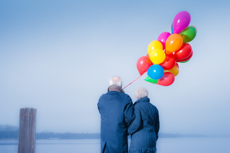 elderly couple happy about upside to impotence